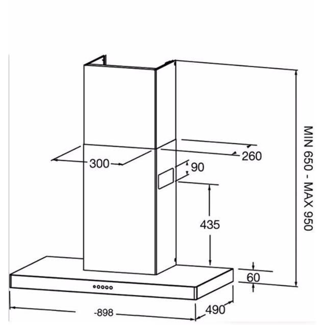 Campana Spar Stilo Pro 90 Cm Acero (6351-034)