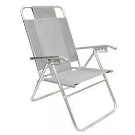 Reposera Aluminio Alta Descansar 5 Posiciones Aluminio Gris (80015)