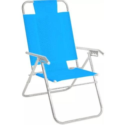 Reposera Aluminio Alta Descansar 5 Posiciones Aluminio Azul Claro (80015)