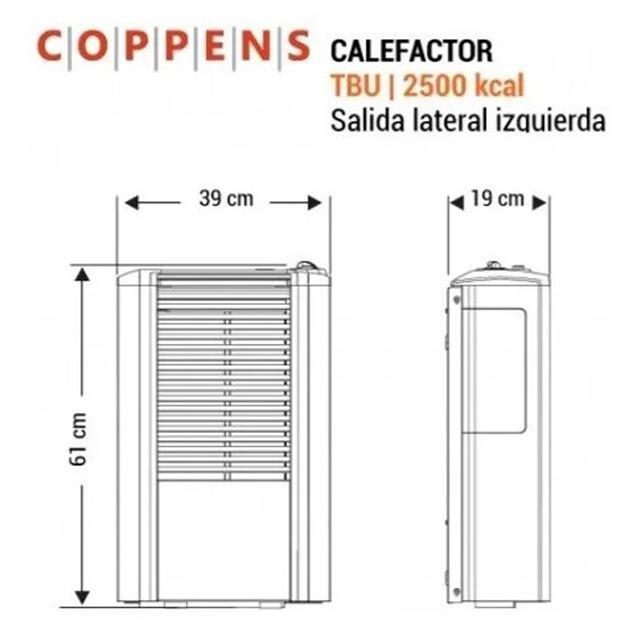 Calefactor Coppens Peltre Acero 2500 Tb Mg Izq.+ Lateral Trasera