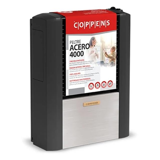 Calefactor Coppens Peltre Acero 4000 Tb Mg Izq.+ Lateral Trasera