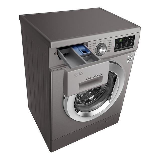 Lavarropas Lg Carga Frontal 8.5 Kg 1400 Rpm Inverter Silver (Wm8514ee6)