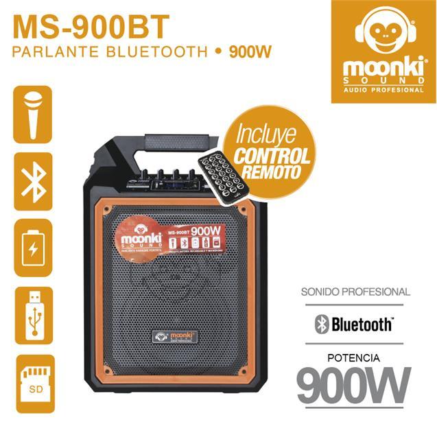 Parlante Moonki 900w Bluetooth Usb Microfono Bateria (Ms900)