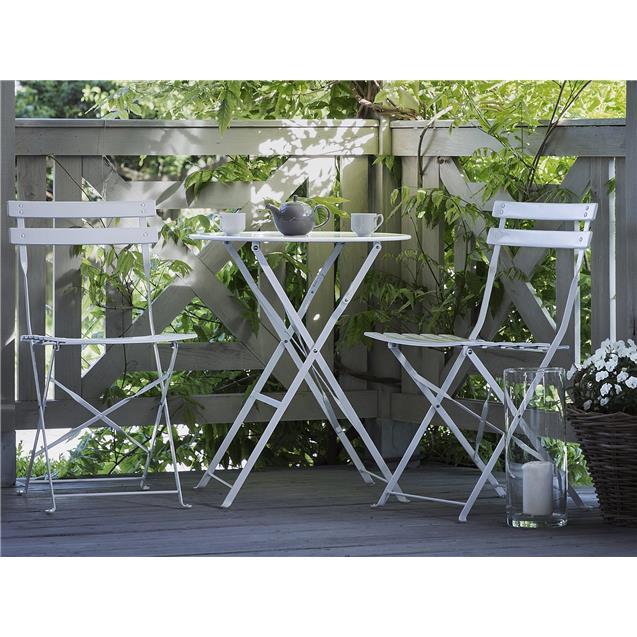 Juego Jardin Mesa y Sillas Plegables Blanco Abon Garden