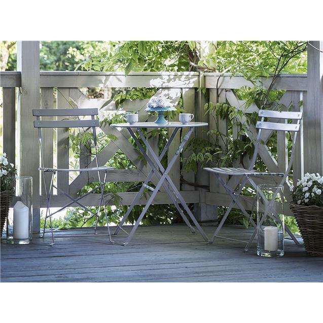 Juego Jardin Mesa y Sillas Plegables Gris Abon Garden