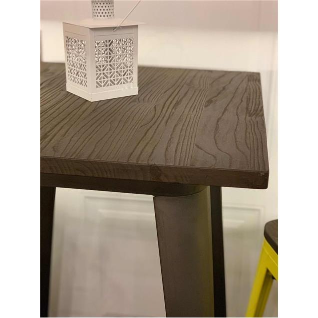 Mesa Tolix color CAFE Mate 80cm x 80cm con Tapa de Madera (Bm808075)