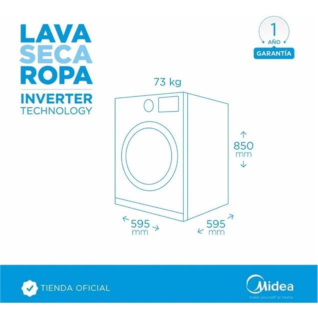 Lavasecarropas Midea 12/8 Kg 1200 Rpm Inverter (Wdlc312sar1)