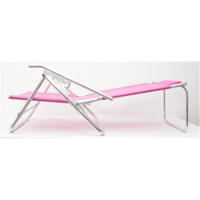 Reposera Aluminio Baja Descansar 5 Posciones Rosa (80012)
