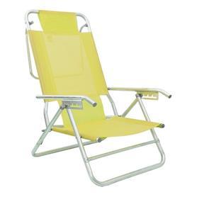 Reposera Aluminio Baja Descansar 5 Posciones Amarillo (80012)