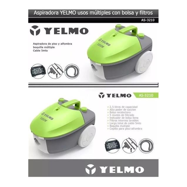 Aspiradora Yelmo 1100w Con Bolsa 2.5 lts (As3210)