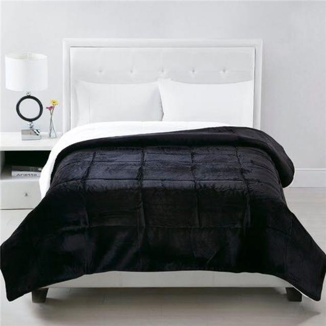 Acolchado Luxury Twin Corderito Negro (1.70x2.30)