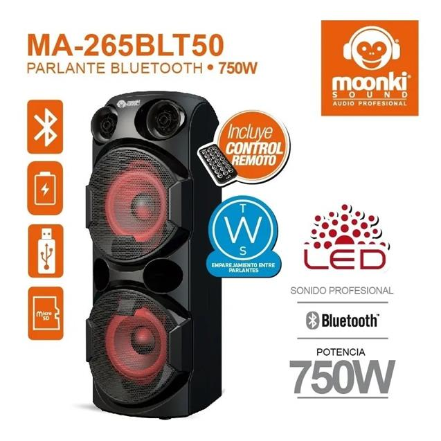 Parlante Moonki 750w Bluetooth Usb Bateria (Ma265blt)
