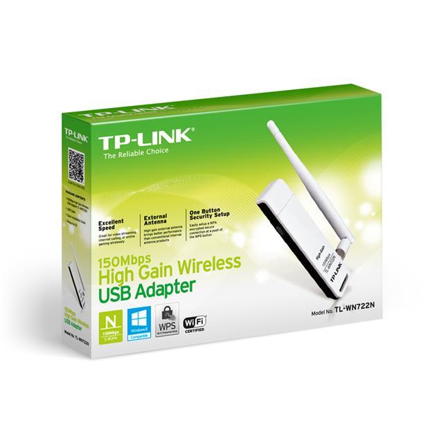 Adaptador De Red Usb Tp-Link Tl-Wn722n  150 Mbps Antena De 4 Dbi