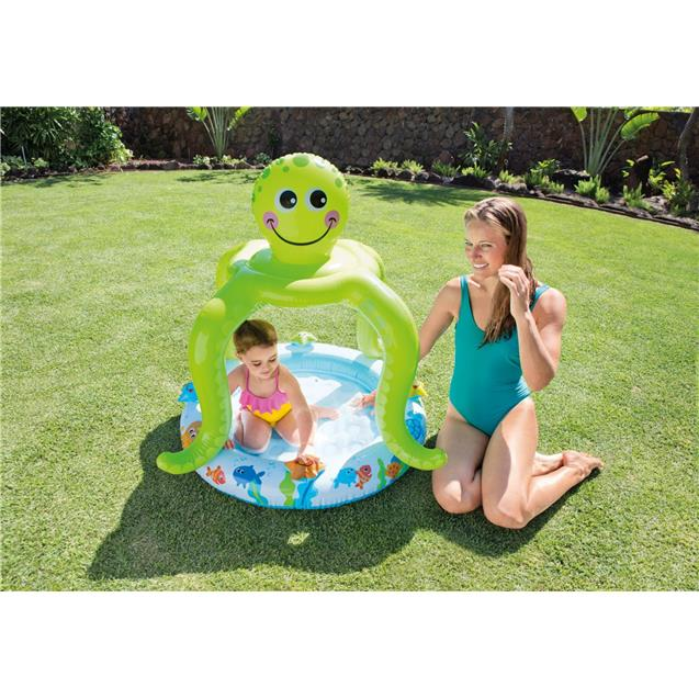 Pileta Inflable Intex Pulpo Con Techo 102x104cm 45lts