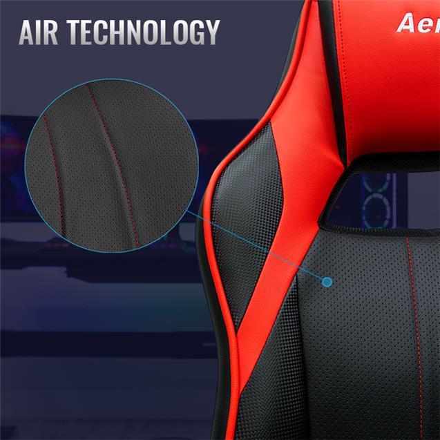 Silla Gamer Ergonómica Aerocool Negro y Rojo Ac40c Air