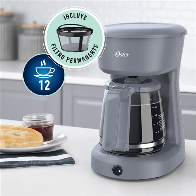 Cafetera Oster Dsc12g Filtro 12 Tazas Gris