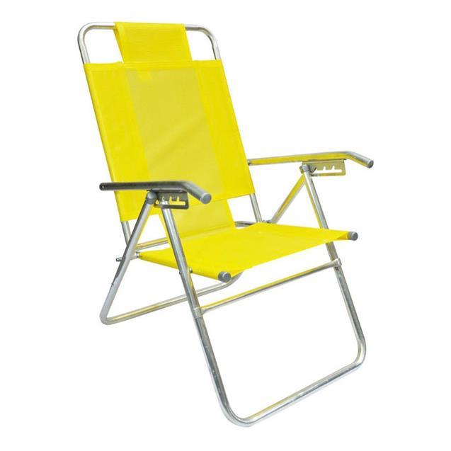 Reposera Aluminio Alta Descansar 5 Posiciones Amarillo (80017)