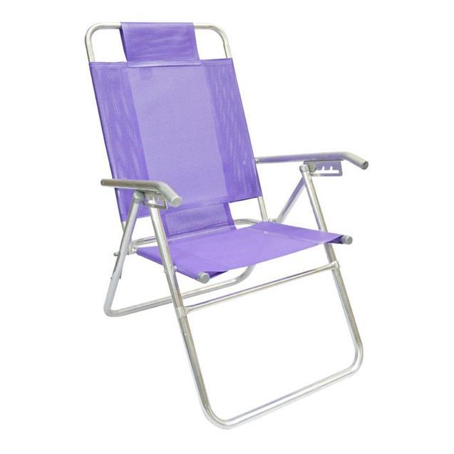 Reposera Aluminio Alta Descansar 5 Posiciones Violeta (80017)