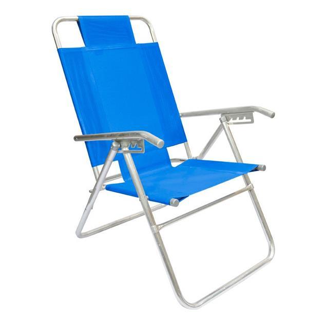Reposera Aluminio Alta Descansar 5 Posiciones Azul Claro (80017)