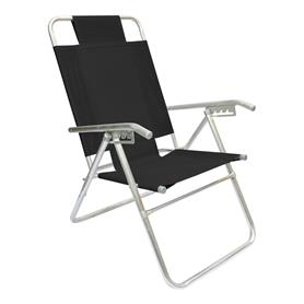 Reposera Aluminio Alta Descansar 5 Posiciones Negro (80017)