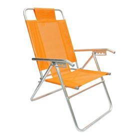 Reposera Aluminio Alta Descansar 5 Posiciones Naranja (80017)