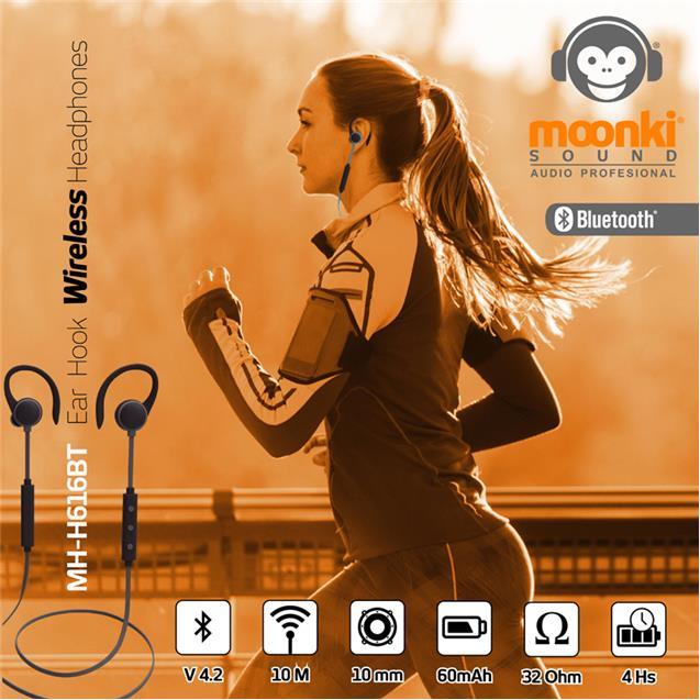 Auricular Deportivo Moonki Mh-H616bt Bt 4hs Negro