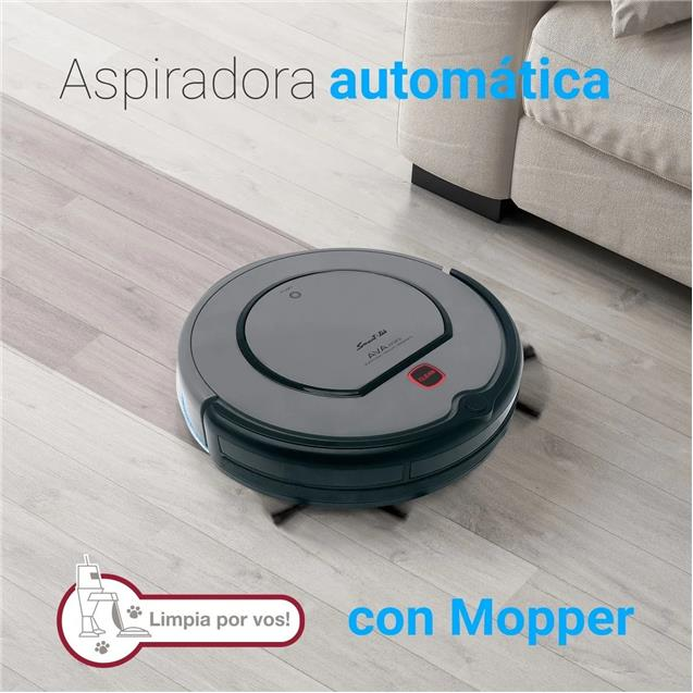 Aspiradora Robot Smart-Tek Ava Mini + Mopper Dark Grey