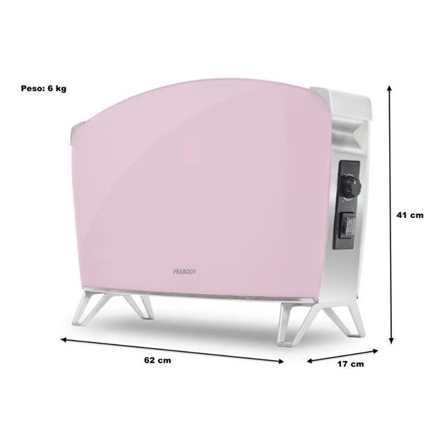 Vitroconvector Peabody Pe-Bvc15p 1500w Doble Vidrio Rosa