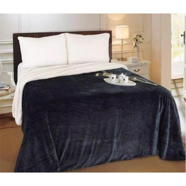 Manta Flannel Reversible Twin Negro (170X230)