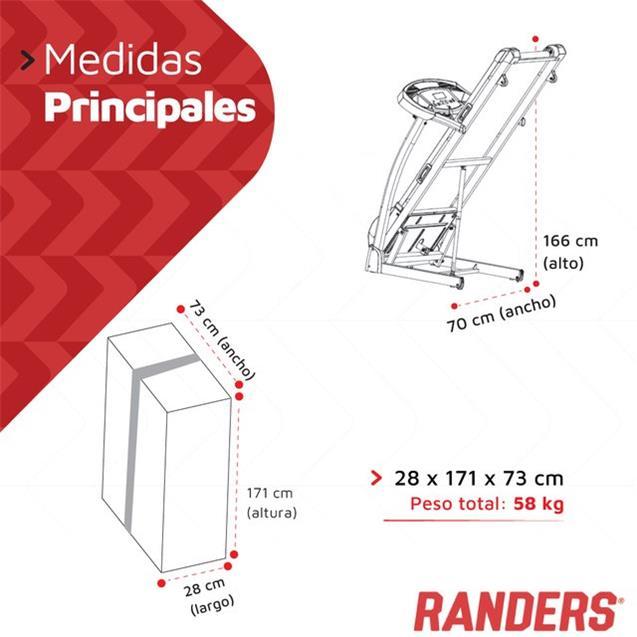 Cinta Motorizada Randers Arg-470  Con Inclinación  110kg (16 Km/H)