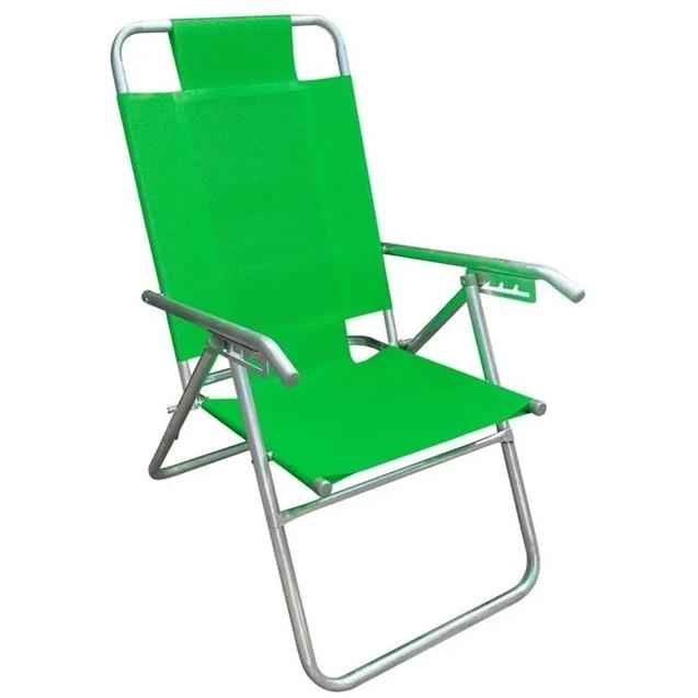 Reposera Aluminio Reforzada Alta Descansar 5 Posiciones Verde (80000)