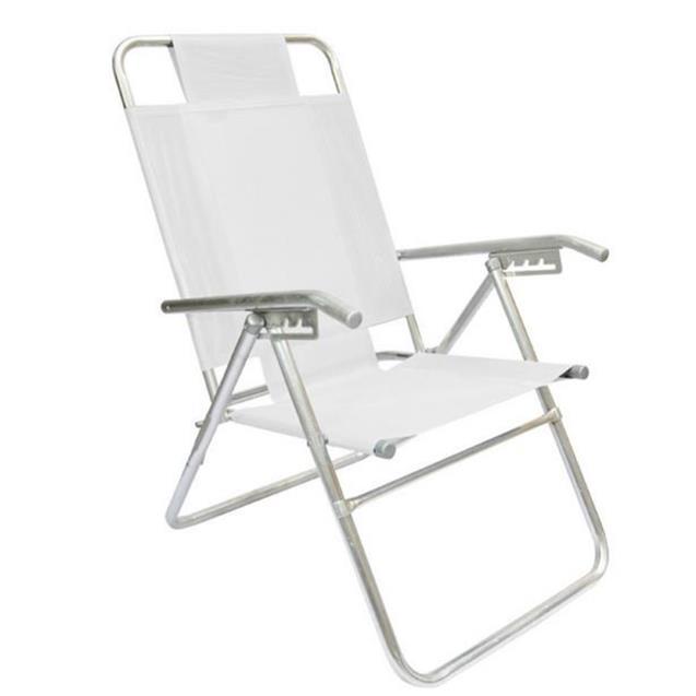 Reposera Aluminio Reforzada Alta Descansar 5 Posiciones Blanco (80000)