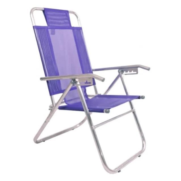 Reposera Aluminio Reforzada Alta Descansar 5 Posiciones Violeta (80000)