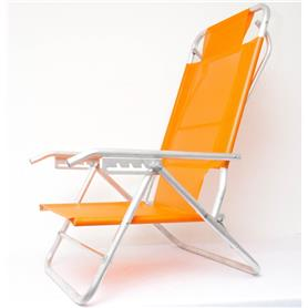 Reposera Aluminio Baja Descansar 5 Posiciones Naranja (80005)