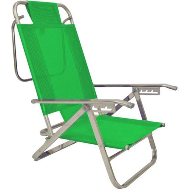Reposera Aluminio Baja Descansar 5 Posiciones Verde Claro (80005)