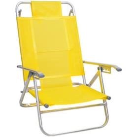 Reposera Aluminio Baja Descansar 5 Posiciones Amarillo (80005)