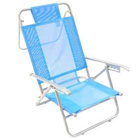 Reposera Aluminio Baja Descansar 5 Posiciones Azul Claro (80005)