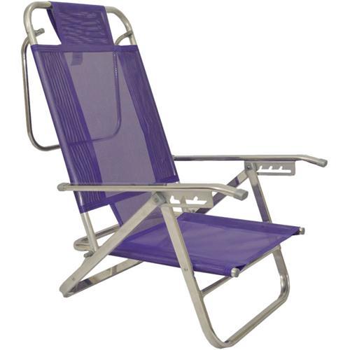 Reposera Aluminio Baja Descansar 5 Posiciones Violeta (80005)