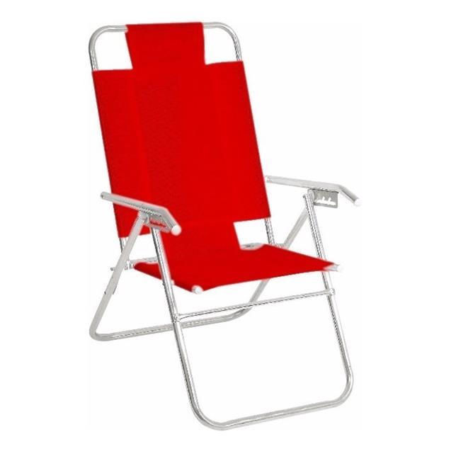 Reposera Aluminio Alta Descansar 5 Posiciones Aluminio Roja (80015)