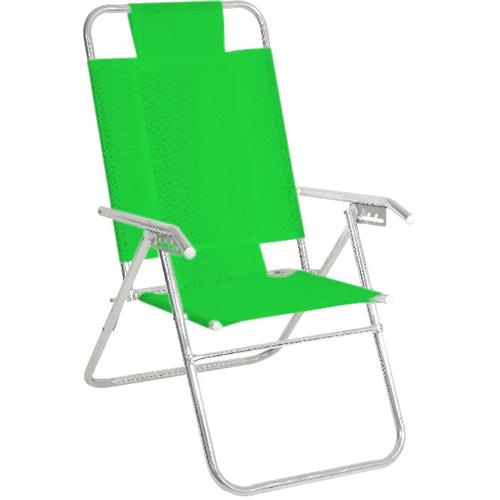 Reposera Aluminio Alta Descansar 5 Posiciones Aluminio Verde Claro (80015)