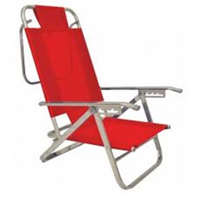 Reposera Aluminio Baja Descansar 5 Posiciones Rojo (80005)