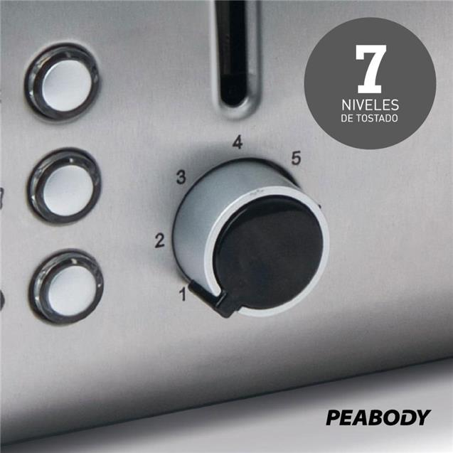 Tostadora Peabody Acero 4 Ranuras (Pe-T8520)