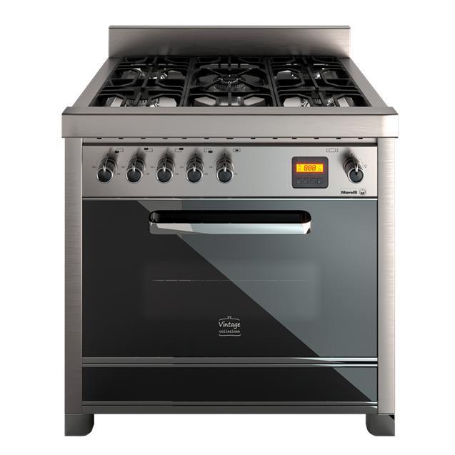 Cocina Morelli Vintage Touch 900 90cm Negro y Acero